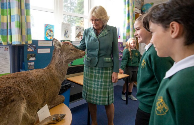 The Duchess of Cornwall, known as the Duchess of Rothesay in Scotland, during her visit to Crathie Primary School, Aberdeenshire. PRESS ASSOCIATION Photo. Picture date: Friday October 12, 2018. See PA story ROYAL Camilla. Photo credit should read: Jane Barlow/PA Wire