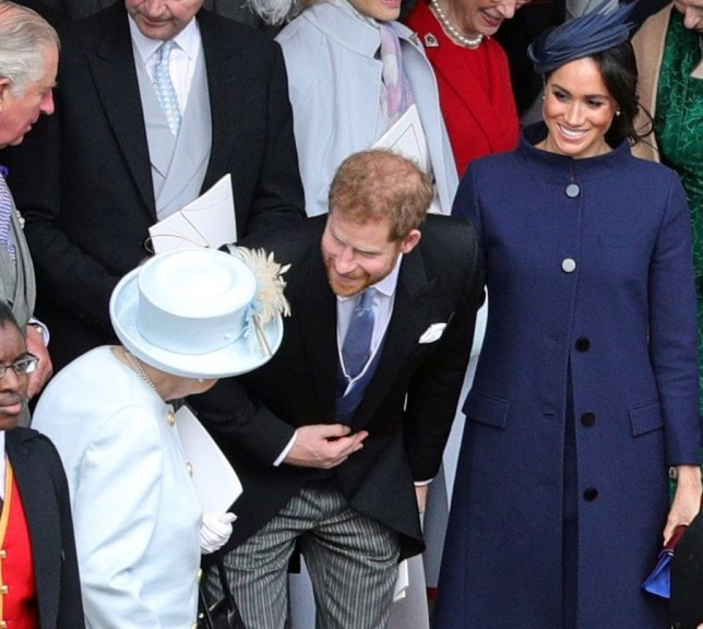 Mandatory Credit: Photo by REX (9928554ca) Queen Elizabeth II, Prince Harry and Meghan Duchess of Sussex The wedding of Princess Eugenie and Jack Brooksbank, Departures, Windsor, Berkshire, UK - 12 Oct 2018