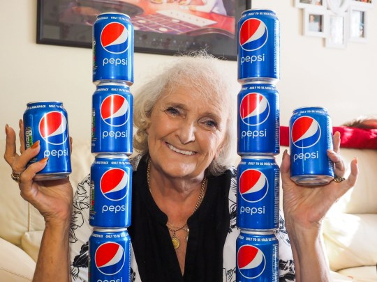 *** ONLINE EMBARGO UNTIL 18.00 SUNDAY OCTOBER 14TH - PLEASE DO NOT PUBLISH BEFORE *** PIC FROM Kennedy News and Media (PICTURED: JACKIE PAGE, 77, WHO HAS ONLY DRANK PEPSI AND NOTHING ELSE SINCE 1954, WITH HER PEPSI STASH) A great-grandma loves Pepsi so much that she has drank it every day for the last 60 YEARS - and NOTHING else. Pepsi-obsessed Jackie Page, 77, starts each day with a cold can straight from the fridge and drinks up to four cans every day - including throughout her four pregnancies in the 1960s. Despite the lack of variety, Jackie has never grown tired of Pepsi???s taste and claims it is the only drink she has ever liked. SEE KENNEDY NEWS COPY - 0161 697 4266