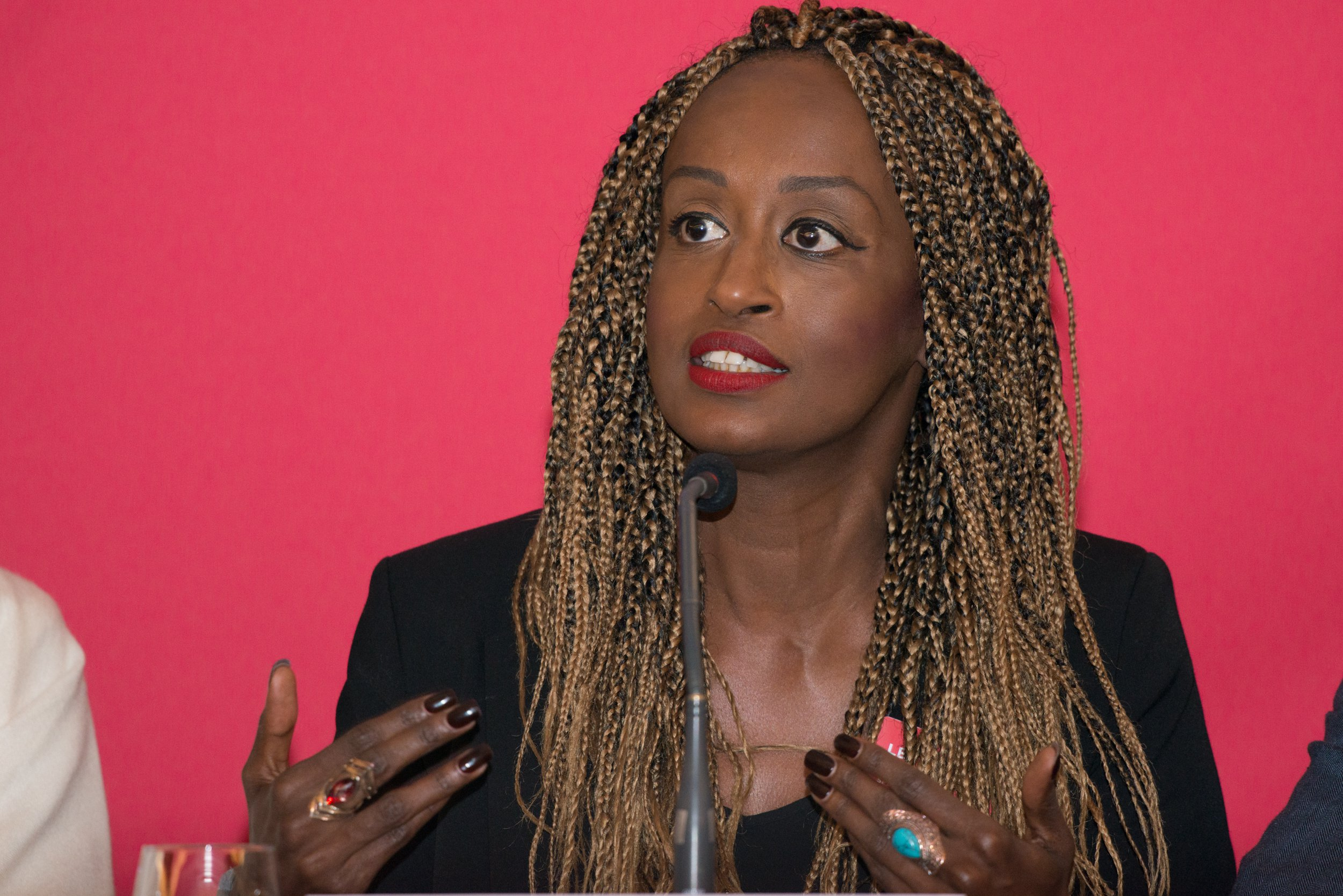 Leyla Hussein, British-Somali human rights activist campaigning against genital mutilation of women, speaks at the opening press conference of the 2017 Oslo Freedom Forum on May 22 2017 at the Intercontinental Hotel in central Oslo, Norway. During the opening press conference of the Oslo Freedom Forum, human rights activists from around the world spoke on the importance to defend democracy in today's increasingly authoritarian world. The use of fake news and the gradual disassembly and defamation of working democratic institutions, including the press, were identified as key elements of a disintegrating democratic state. (Photo by Julia Reinhart/NurPhoto) *** Please Use Credit from Credit Field ***