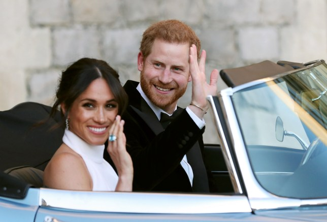 Meghan Markle, the Duchess of Sussex, and Prince Harry, the Duke of Sussex, on their wedding day