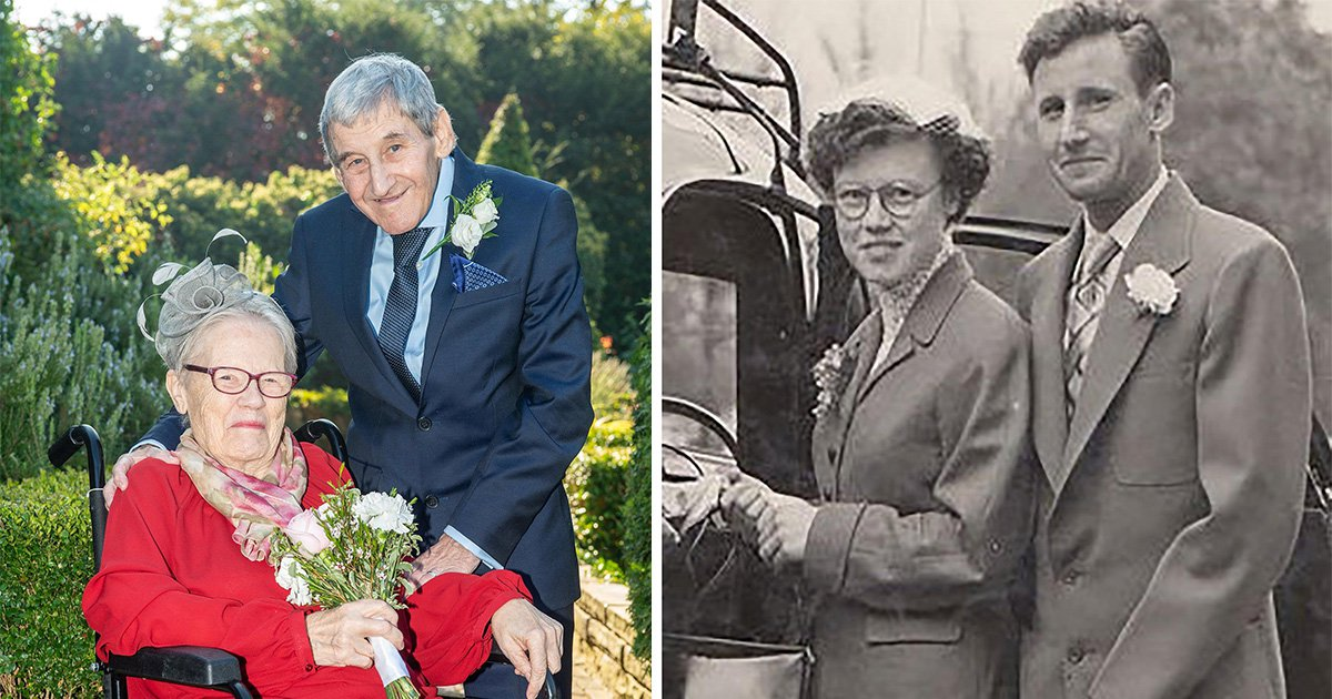 Composite image - Charlie 88 and Audrey Hailes 83 photographed at their wedding today, October 10, 2018 (LEFT) and back in 1955 (RIGHT). The couple have spent 40 years divorced and have now fallen back in love and have remarried today at Dartford Registry office, Kent. See NATIONAL story NNMARRY. An elderly couple who spent 40 years divorced have fallen back in love and and have just remarried. Charlie and Audrey Hailes, 88 and 83, tied the knot again at The Manor Gatehouse in Dartford in front of their six children. The couple, who spent most of their lives in Green Street Green, London, before recently moving to Wilmington, divorced in 1978 after falling out.