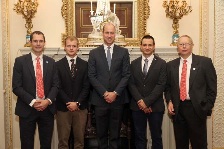 The Duke of Cambridge, with (left to right) Chris Jewell, Connor Roe, Jim Warny and Rob Harper, as he hosts a reception at Buckingham Palace in London for the British divers who helped rescue 12 trapped boys from a cave in Thailand. PRESS ASSOCIATION Photo. Picture date: Tuesday October 16, 2018. See PA story ROYAL Divers. Photo credit should read: Jon Bond/The Sun/PA Wire