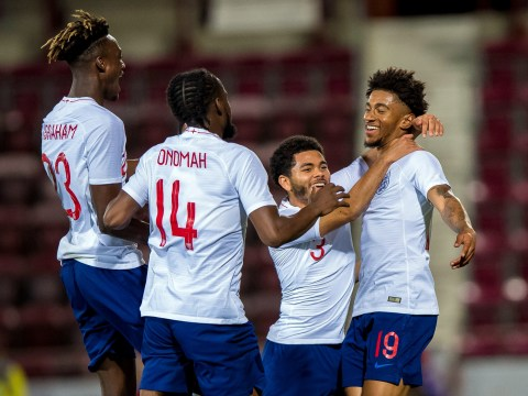 Arsenal ace Reiss Nelson scores stunning free-kick for England U21s