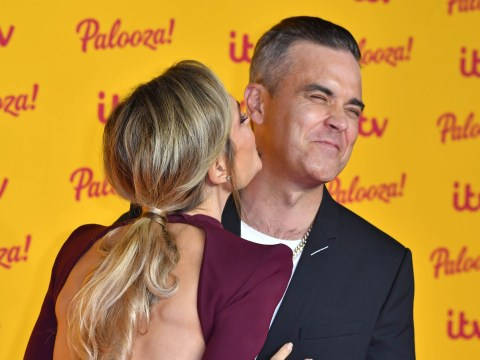 Robbie Williams gets shy and rejects wife Ayda Field's kiss on the red carpet at ITV Palooza