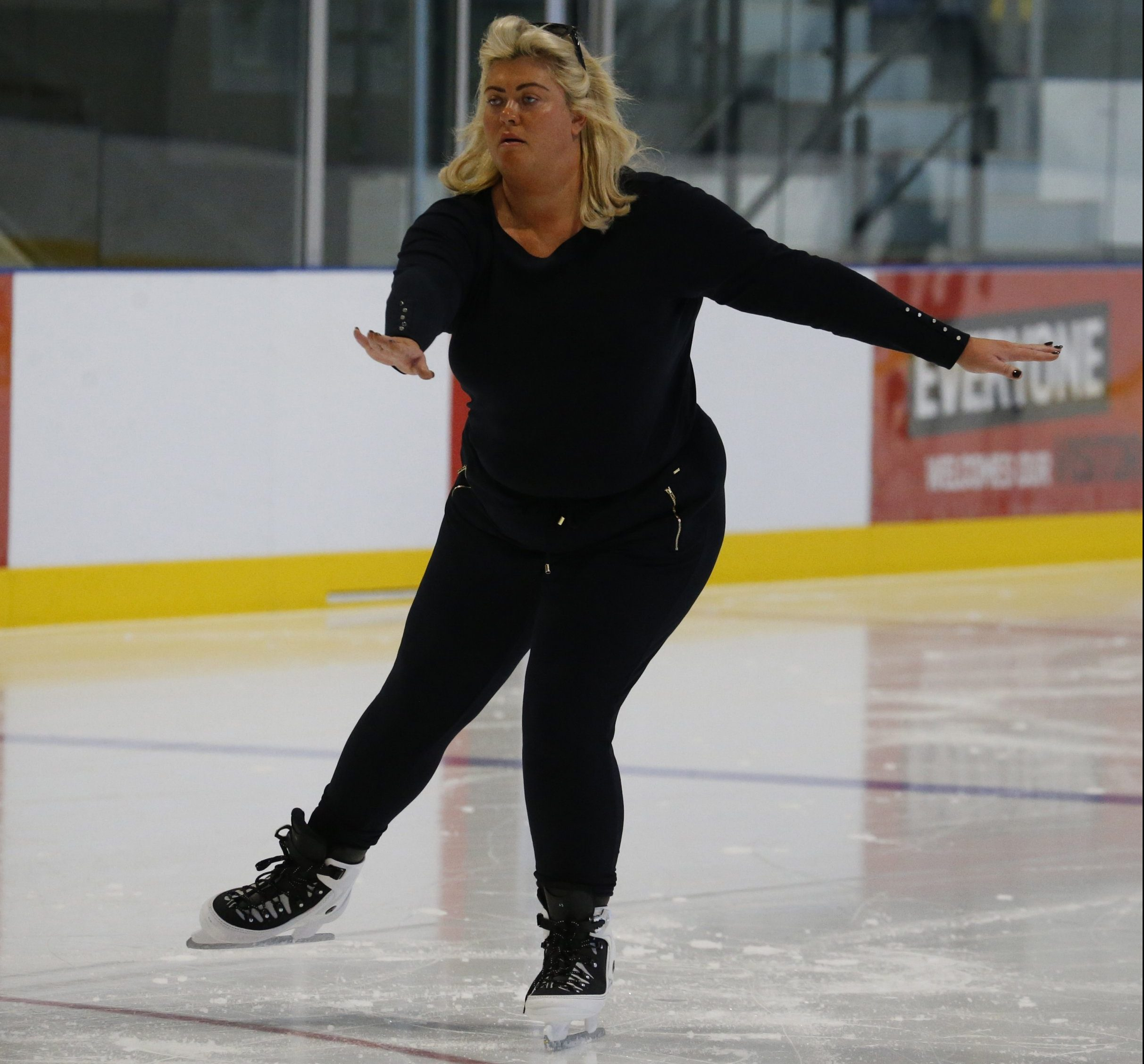 EXCLUSIVE: * Min Web / Online Fee 300 GBP For Set * * Min Print Fee 300 GBP PP * Double For Pg1 * Gemma Collins Seen Practicing For Dancing On Ice With Her Skate Coach. Pictured: Gemma Collins Ref: SPL5033689 161018 EXCLUSIVE Picture by: Ralph / SplashNews.com * Min Web / Online Fee 300 GBP For Set * * Min Print Fee 300 GBP PP * Double For Pg1 * Splash News and Pictures Los Angeles: 310-821-2666 New York: 212-619-2666 London: 0207 644 7656 Milan: +39 02 4399 8577 Sydney: +61 02 9240 7700 photodesk@splashnews.com World Rights