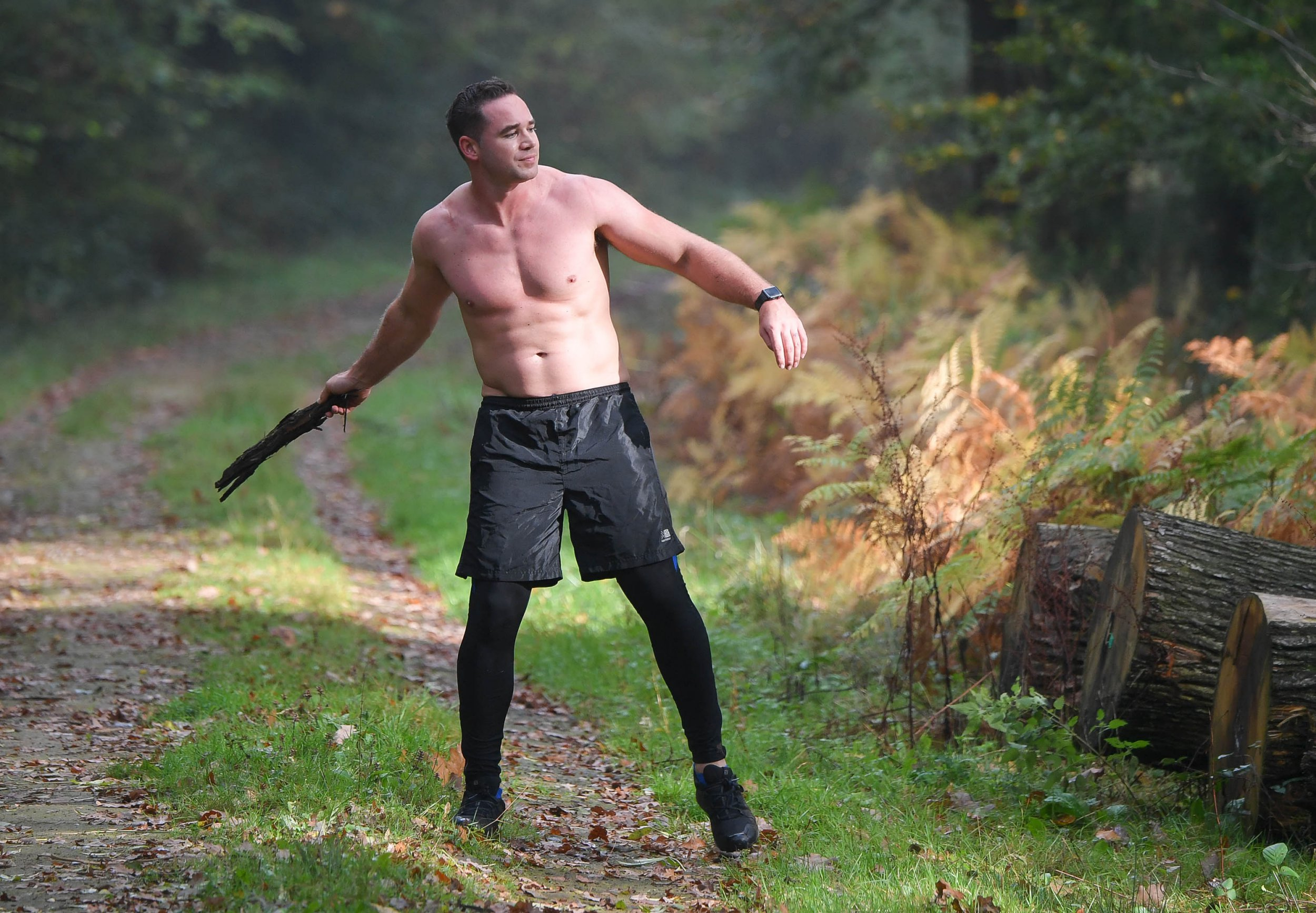 The ex husband of Katie Price, Kieran Hayler spotted running in the woods with his two dogs near his home in Brighton. (EXCLUSIVE ALL ROUND)