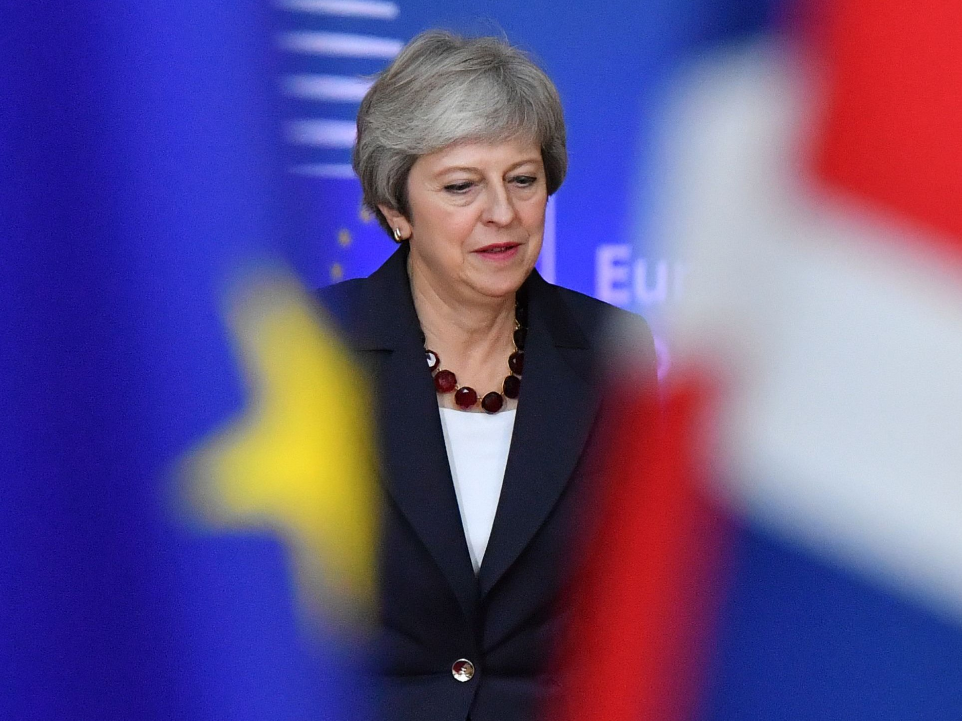 Britain's Prime Minister Theresa May arrives at the European Council in Brussels on October 17, 2018. - British Prime Minister Theresa May is due to address a summit of European Union leaders in which Brexit negotiations are expected to be top of the agenda. (Photo by EMMANUEL DUNAND / AFP)EMMANUEL DUNAND/AFP/Getty Images