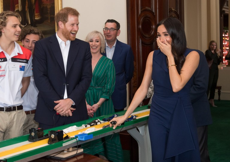 Prince Harry, the Duke of Sussex and Meghan, the Duchess of Sussex attend a Reception hosted by the Honourable Linda Dessau AC, Governor of Victoria and Mr. Anthony Howard QC at Government House Victoria in Melbourne Pictured: Prince Harry,the Duke of Sussex and Meghan,the Duchess of Sussex Ref: SPL5034225 181018 NON-EXCLUSIVE Picture by: SplashNews.com Splash News and Pictures Los Angeles: 310-821-2666 New York: 212-619-2666 London: 0207 644 7656 Milan: +39 02 4399 8577 Sydney: +61 02 9240 7700 photodesk@splashnews.com World Rights,