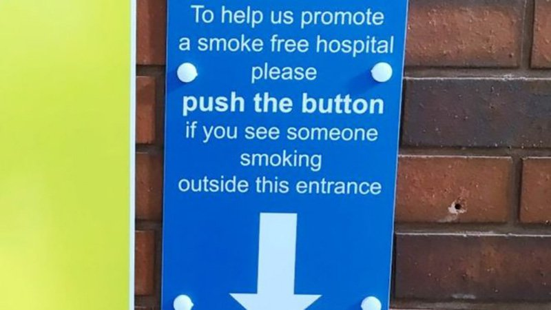 People who ignore 'no smoking' signs by the doors of a Wakefield hospital are being shamed through a loudspeaker. Staff, visitors and patients can activate the pre-recorded messages, which are then played through a speaker outside Pinderfields Hospital.