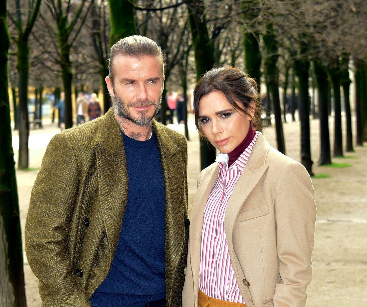 Mandatory Credit: Photo by LAURENT BENHAMOU/SIPA/REX/Shutterstock (9325461j) David Beckham, Victoria Beckham Louis Vuitton show, Arrivals, Fall Winter 2018, Paris Fashion Week Men's, France - 18 Jan 2018