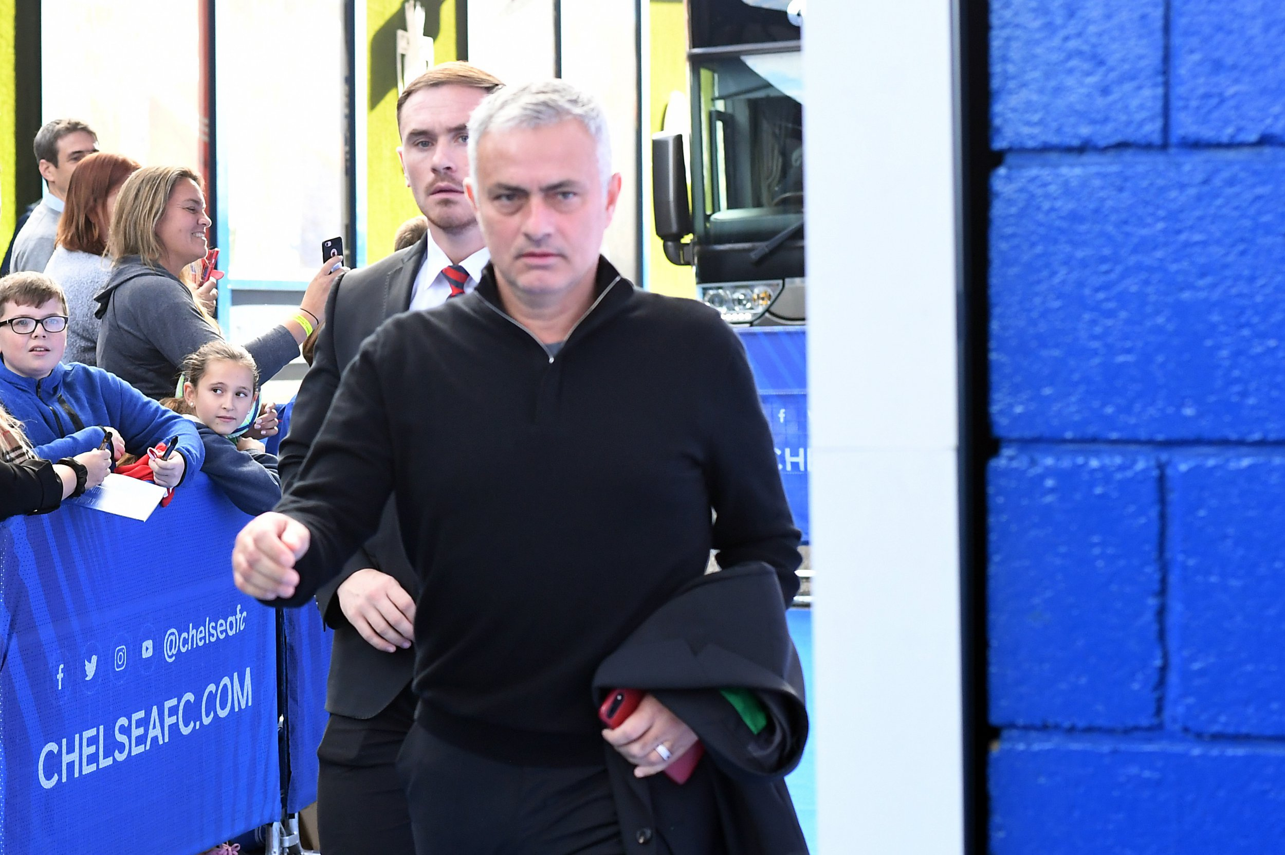 epa07106476 Manchester United manager, Jose Mourinho arrives for the English Premier League soccer match between Chelsea and Manchester United at Stamford Bridge in London, Britain, 20 October 2018. EPA/FACUNDO ARRIZABALAGA EDITORIAL USE ONLY. No use with unauthorized audio, video, data, fixture lists, club/league logos or 'live' services. Online in-match use limited to 75 images, no video emulation. No use in betting, games or single club/league/player publications