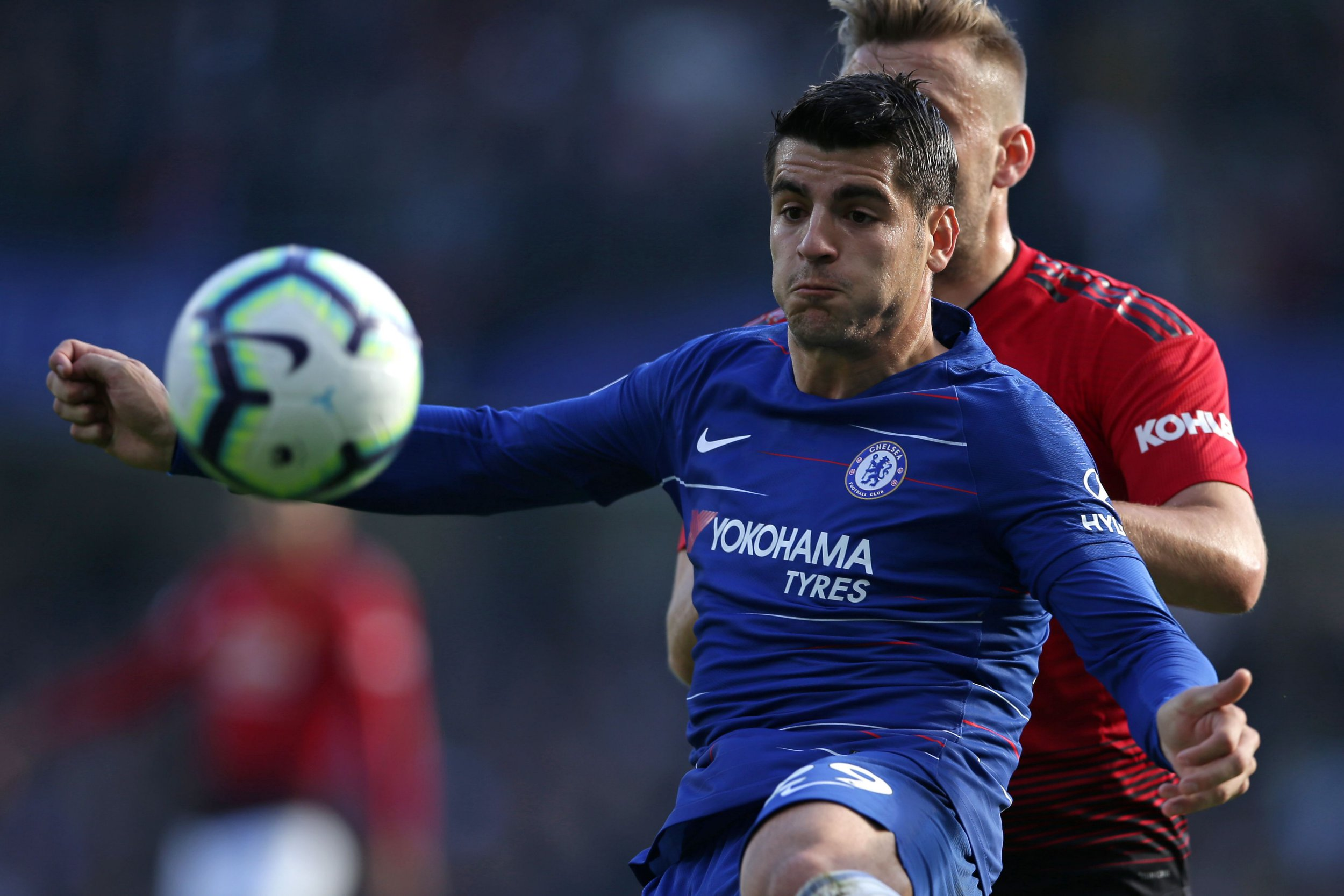 Chelsea's Spanish striker Alvaro Morata controls the ball during the English Premier League football match between Chelsea and Manchester United at Stamford Bridge in London on October 20, 2018. (Photo by Daniel LEAL-OLIVAS / AFP) / RESTRICTED TO EDITORIAL USE. No use with unauthorized audio, video, data, fixture lists, club/league logos or 'live' services. Online in-match use limited to 120 images. An additional 40 images may be used in extra time. No video emulation. Social media in-match use limited to 120 images. An additional 40 images may be used in extra time. No use in betting publications, games or single club/league/player publications. / DANIEL LEAL-OLIVAS/AFP/Getty Images