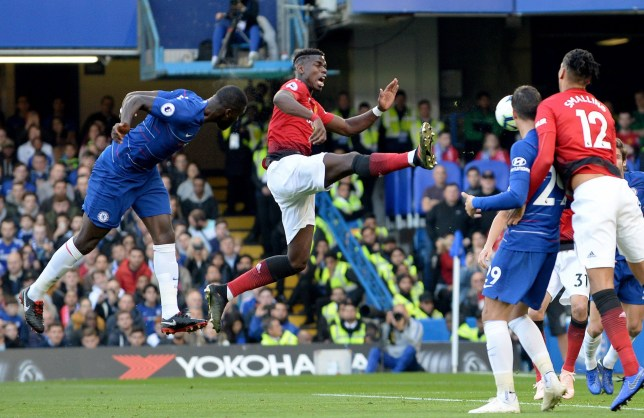 **IMAGE OUTSIDE OF SUBSCRIPTION DEAL, FEES APPLY** Mandatory Credit: Photo by Marek Dorcik/REX (9938836i) Antonio Rudiger (left) heads the ball past Paul Pogba of Manchester United to score the opening goal of the game Chelsea v Mancester United, Football, Premier League, Stamford Bridge, London, UK - 20/10/2018