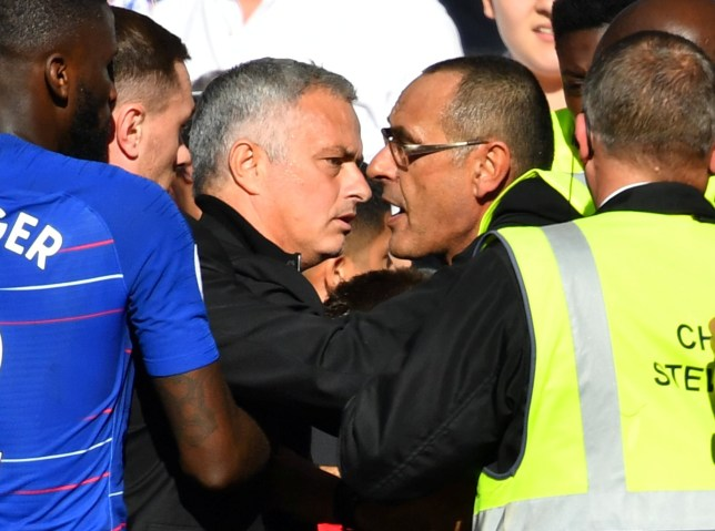 "Soccer Football - Premier League - Chelsea v Manchester United - Stamford Bridge, London, Britain - October 20, 2018 Manchester United manager Jose Mourinho is restrained by stewards after reacting to Chelsea's second goal REUTERS/Dylan Martinez EDITORIAL USE ONLY. No use with unauthorized audio, video, data, fixture lists, club/league logos or ""live"" services. Online in-match use limited to 75 images, no video emulation. No use in betting, games or single club/league/player publications. Please contact your account representative for further details."