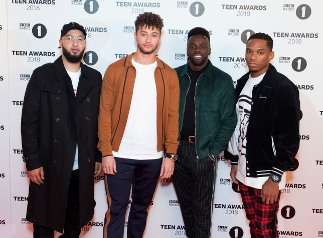 LONDON, ENGLAND - OCTOBER 21: (L-R) Mustafa Rahimtulla, Myles Stephenson, Ashley Fongho, Jamaal Shurland of Rak-Su attend the BBC Radio 1 Teen Awards on October 21, 2018 in London, United Kingdom. (Photo by Jo Hale/Redferns)