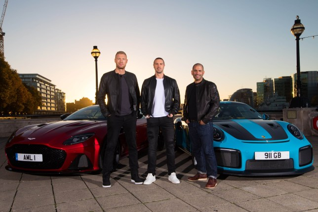 EDITORIAL USE ONLY (Left to right) Andrew 'Freddie' Flintoff, Paddy McGuinness and Chris Harris with an Aston Martin DBS Superleggera and a Porsche 911 GT2 RS at Billingsgate Market, London as they are revealed as BBC Top Gear's new presenting line-up, taking over the helm from Matt LeBlanc whose final series will air in early 2019 on BBC Two. PRESS ASSOCIATION Photo. Picture date: Monday October 22, 2018. See PA story SHOWBIZ TopGear. Photo credit should read: David Parry/PA Wire