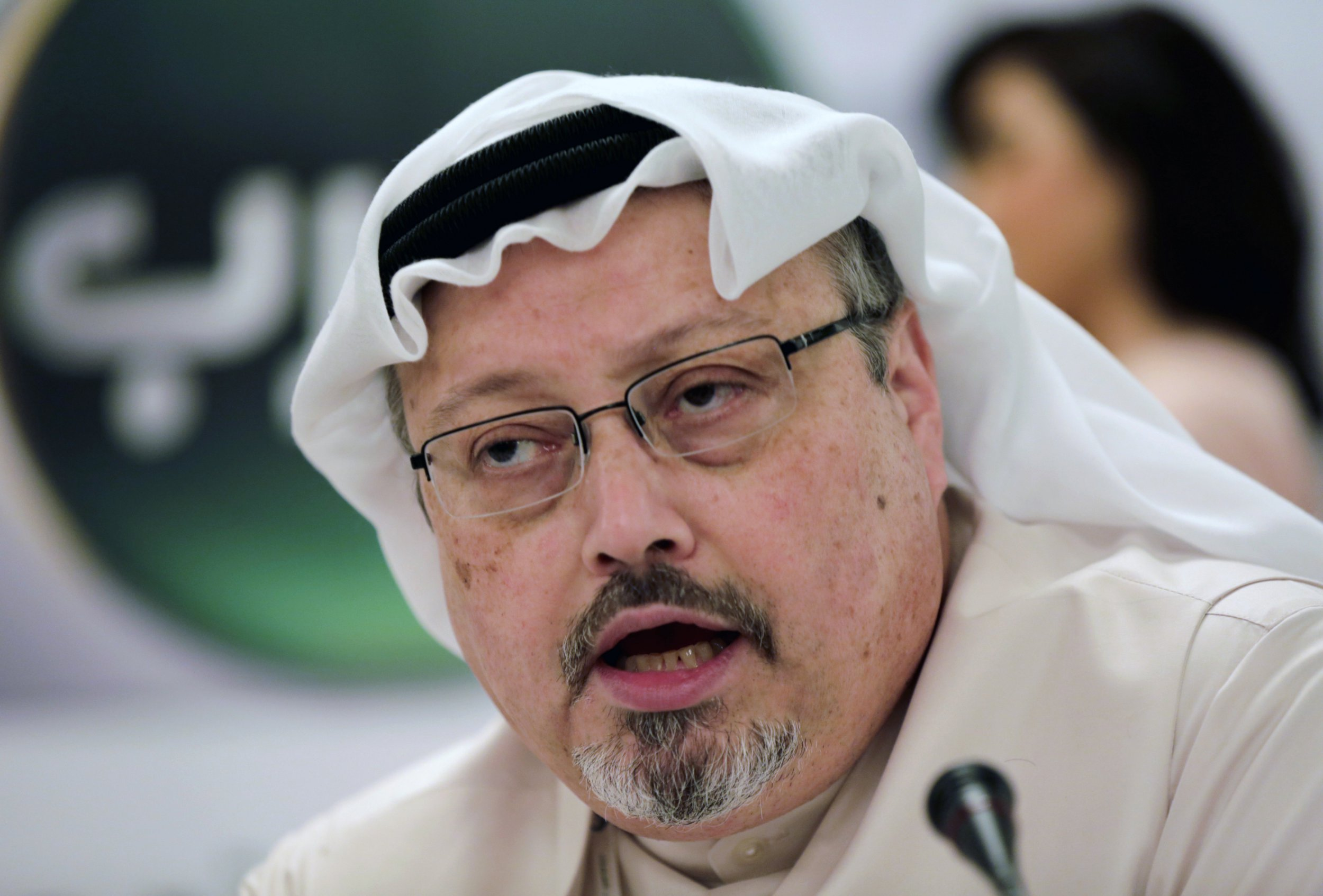 FILE - In this Feb. 1, 2015 file photo, Saudi journalist Jamal Khashoggi speaks during a news conference in Manama, Bahrain. Saudi Arabia is moving ahead with plans to hold a glitzy investment forum that kicks off Tuesday, Oct. 23, 2018, despite some of its most important speakers pulling out in the global outcry over the killing of Khashoggi. The meeting was intended to draw leading investors who could help underwrite Crown Prince Mohammed bin Salman???s ambitious plans to revamp the economy. (AP Photo/Hasan Jamali, File)