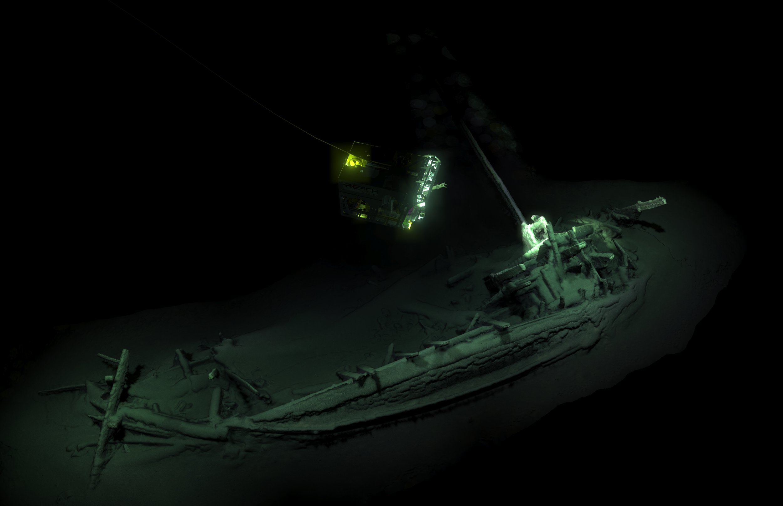 PRESS HANDOUT: World's Oldest Intact Shipwreck Found by British Scientist. British Museum in London to Unveil the Story. Black Sea Maritime Archaeological Project. The Expedition has located and confirmed via carbon dating that the world?s oldest shipwreck has been found at the bottom of the Black Sea. Incredibly well preserved this wreck is carbon dated to 5000BC. Pic shows: 3D Image of World's Oldest Shipwreck
