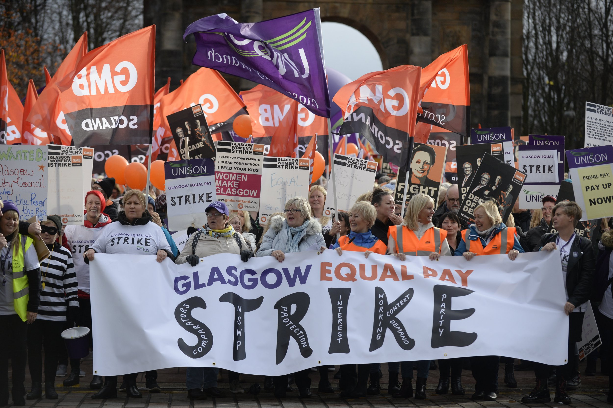 Some 8,000 women council workers marching through Glasgow as they start a two day strike over equal pay. October 23, 2018. Schools, art galleries, and care services are expected to close over the strike