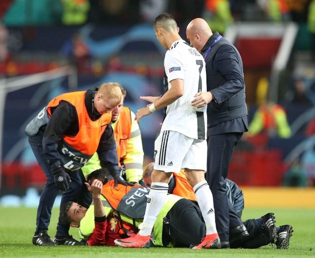 03a44e94b Man Utd news  Juventus  Cristiano Ronaldo takes selfie with pitch ...