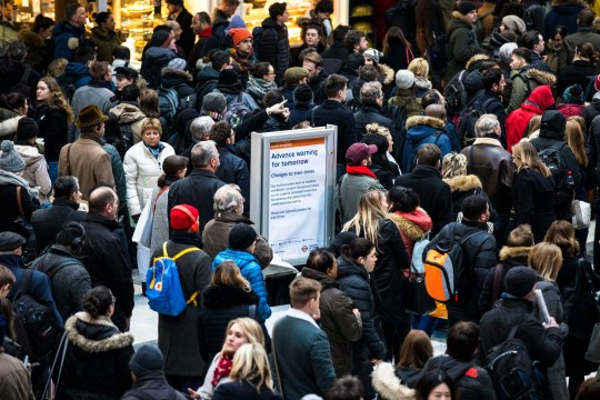 Mandatory Credit: Photo by Rob Pinney/LNP/REX/Shutterstock (9439882b) Commuters wait at Liverpool Street Station as many train services are delayed or cancelled owing to cold weather. Winter weather causes travel chaos, London, UK - 26 Feb 2018 Severe cold, blizzards and heavy snow are expected as the 'Beast from the East' brings freezing Siberian air to the UK.