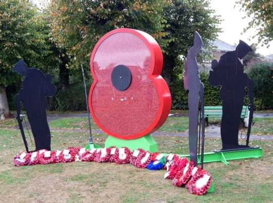 Undated handout photo issued by Avon and Somerset Police of a memorial to those who died during World War One in Cale Park in Wincanton, Somerset, which has been damaged just days before the centenary of the end of the conflict. PRESS ASSOCIATION Photo. Issue date: Friday October 26, 2018. The bespoke glass front of the large poppy-shaped installation, called Poppy of Honour, was smashed in an incident on October 19. See PA story POLICE Memorial. Photo credit should read: Sam Malone/PA Wire NOTE TO EDITORS: This handout photo may only be used in for editorial reporting purposes for the contemporaneous illustration of events, things or the people in the image or facts mentioned in the caption. Reuse of the picture may require further permission from the copyright holder.