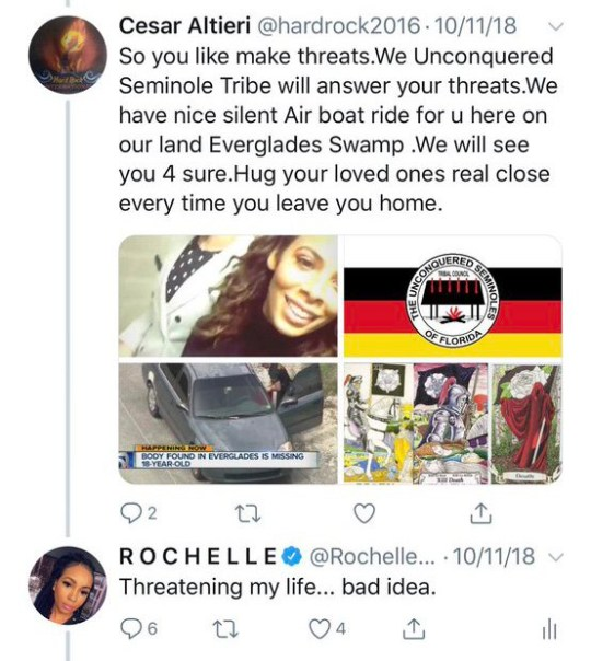 (Picture: Rochelle Ritchie/Twitter) Suspected MAGA bomber Cesar Sayoc threatened to kidnap a woman using an air boat then kill her in the Florida Everglades, it was claimed. Former Congress Press Secretary Rochelle Ritchie shared a chilling Twitter reply sent to her by an account linked to Sayoc after his arrest Friday. The garbled message read: 'So you like make threats. We Unconquered Seminole Tribe will answer your threats. 'We have nice silent Air boat ride for u here on our land Everglades Swamp. 'We will see you 4 sure. Hug your loved ones real close every time you leave home alone.'