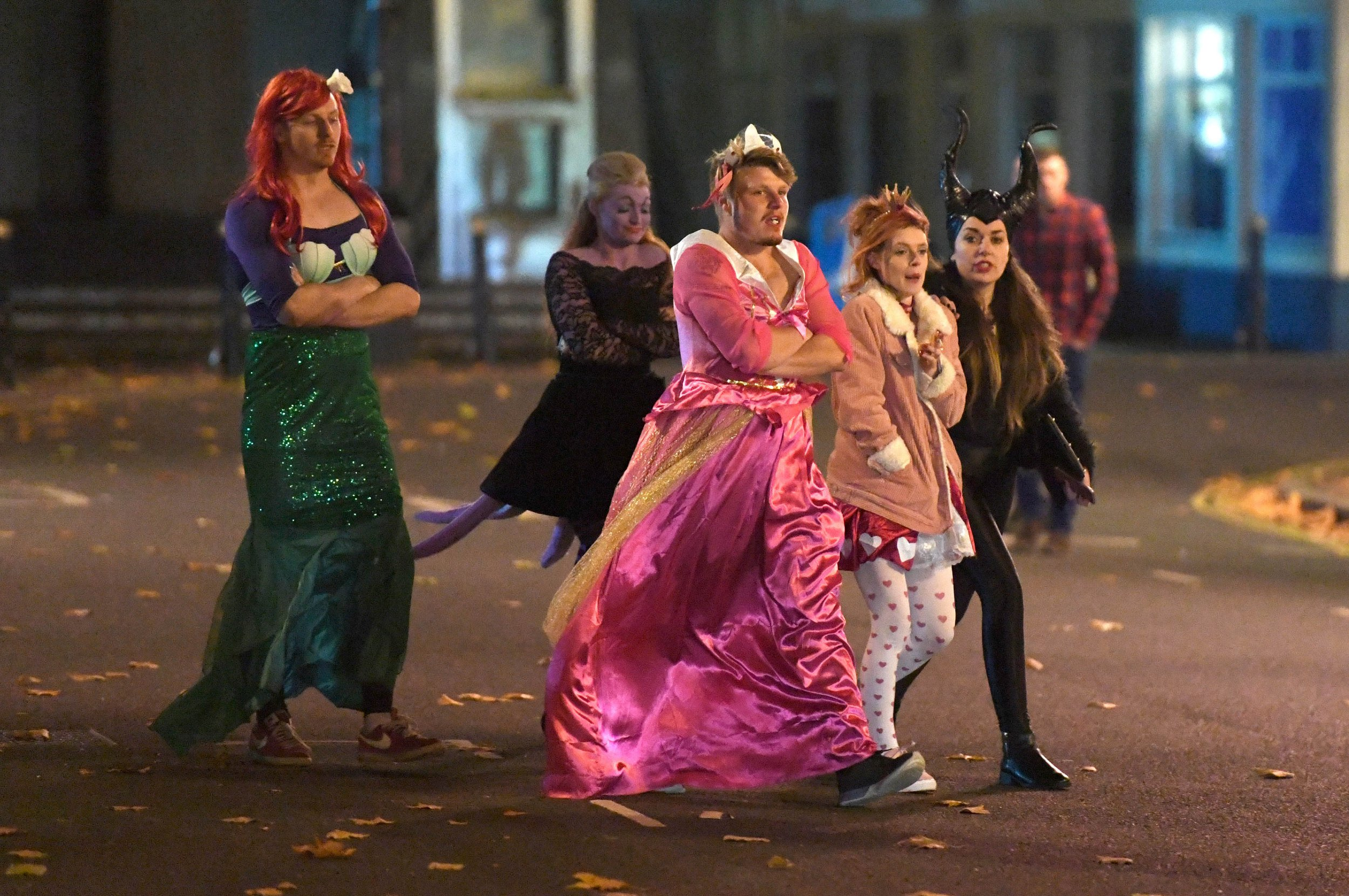 Pictured late Saturday night into Sunday morning 28/10/18 are revellers in Portsmouth, Hampshire in Halloween costumes making the most of the pubs, bars and clubs in Guildhall Walk, Portsmouth. A mermaid and Princess Please credit: Paul Jacobs/pictureexclusive.com Standard reproduction rates apply, contact Paul Jacobs, Picture Exclusive to arrange payment - 07923 866166, pictureexclusive@gmail.com