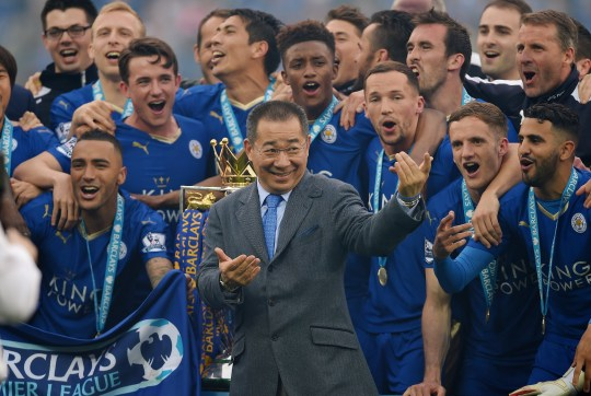 epa07125845 (FILE) - Leicester City's owner Vichai Srivaddhanaprabha (C) reacts after lifting the Premier League trophy after the English Premier League match between Leicester City and Everton at the King Power Stadium Leicester in Leicester, Britain, 07 May 2016. According to reports on 27 October 2018, a helicopter of Leicester City owner Vichai Srivaddhanaprabha, has crashed and burst into flames outside King Power Stadium in Leicester after the Premier League soccer match between Leicester City and West Ham United. It is still unclear if Srivaddhanaprabha was onboard. EPA/PETER POWELL EDITORIAL USE ONLY. No use with unauthorized audio, video, data, fixture lists, club/league logos or 'live' services. Online in-match use limited to 75 images, no video emulation. No use in betting, games or single club/league/player publications *** Local Caption *** 52743251