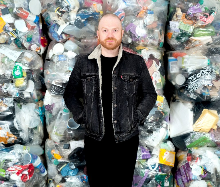 Embargoed to 0001 Monday October 29 Undated handout photo issued by Everyday Plastic of Daniel Webb, who stored all the plastic waste he threw in the bin for a year, collecting up a total of 4,490 individual pieces of plastic. PRESS ASSOCIATION Photo. Issue date: Monday October 29, 2018. A report from the campaign group suggests that people in the UK throw away around 295 billion pieces of plastic every year, much of which is single-use and cannot be recycled. See PA story ENVIRONMENT Plastic . Photo credit should read: Ollie Harrop/Everyday Plastic/PA Wire NOTE TO EDITORS: This handout photo may only be used in for editorial reporting purposes for the contemporaneous illustration of events, things or the people in the image or facts mentioned in the caption. Reuse of the picture may require further permission from the copyright holder.