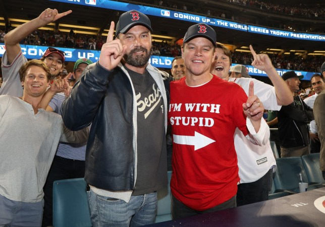 LOS ANGELES, CA - OCTOBER 28: Ben Affleck and Matt Damon attend te 2018 World Series Boston Red Sox v Los Angeles Dodgers game five at Dodger Stadium on October 28, 2018 in Los Angeles, California. (Photo by Jerritt Clark/Getty Images)