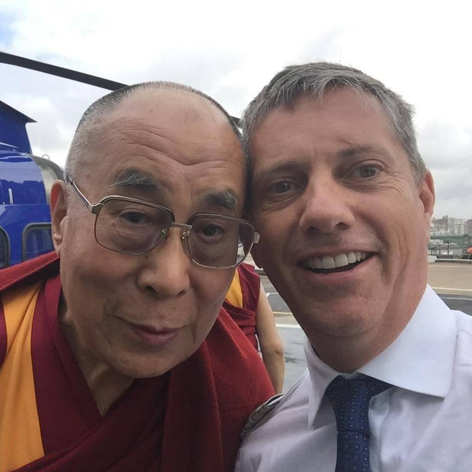 Undated picture of the Dalai Lama (right) with Eric Swaffer who died when the helicopter that he was piloting crashed just yards from Leiicester City Football Club Stadium on Saturday evening. PRESS ASSOCIATION Photo. Issue date: Monday October 29, 2018. See PA story POLICE Stadium. Photo credit should read: Facebook/PA Wire