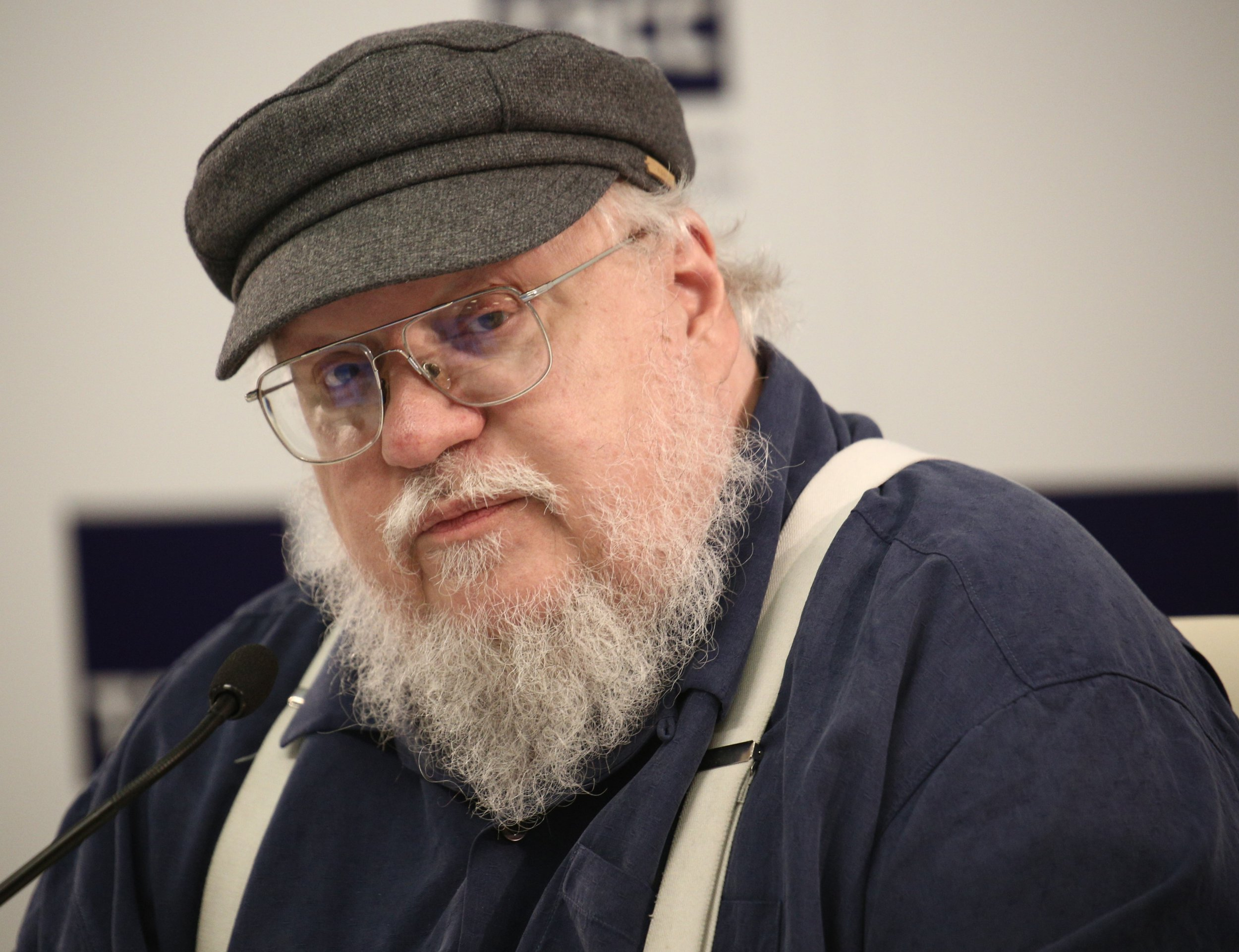 SAINT-PETERSBURG, RUSSIA - AUGUST 16: American writer George R. R. Martin speaks during a press conference in St. Petersburg, Russia on August 16, 2017. (Photo by Sergey Mihailicenko/Anadolu Agency/Getty Images)