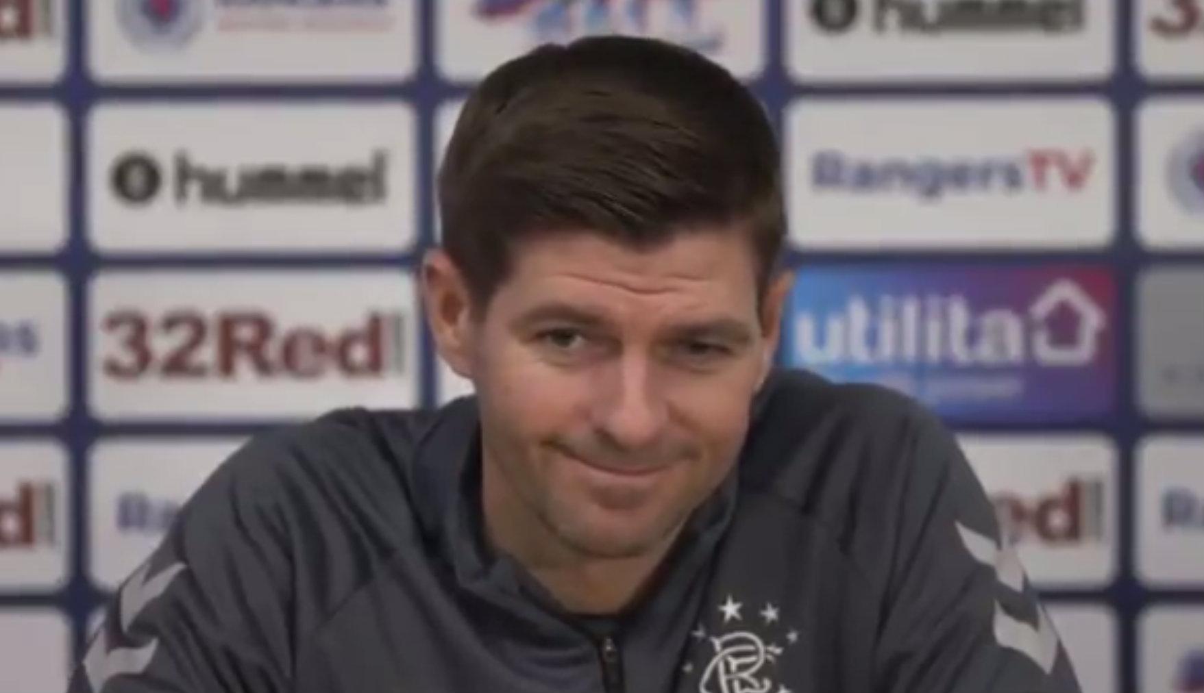 Steven Gerrard interrupts Rangers star Jordan Rossiter to shut down reporter