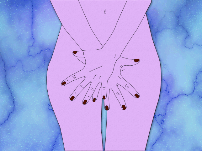 Illustration of woman covering vagina with hands