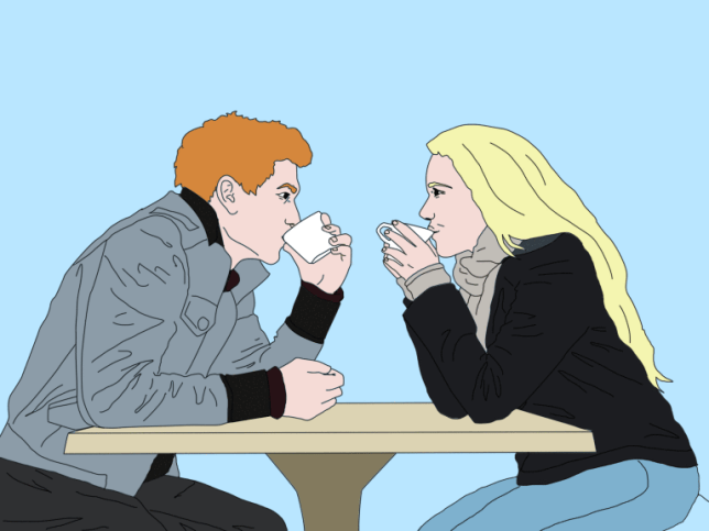 Illustration of two people sat across from each other at a table having coffee on a date