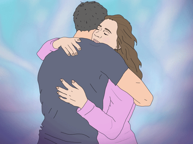 Illustration of a woman and a man hugging