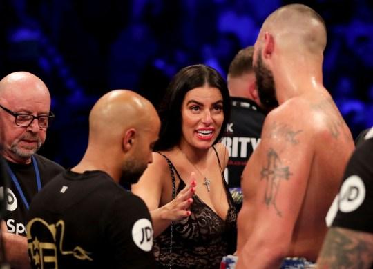 Rachael Roberts speaking to Tony Bellew in ring