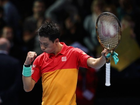Kei Nishikori reacts to stunning ATP Finals victory over Roger Federer