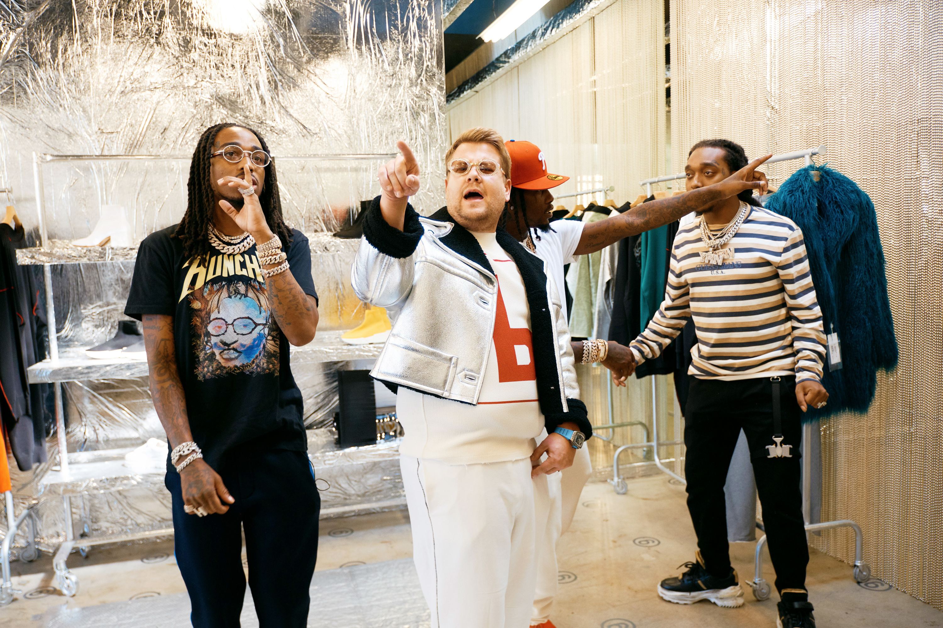 Migos transform James Corden's look in Carpool Karaoke