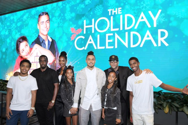 Kim Porter with family at The Holiday Calendar screening