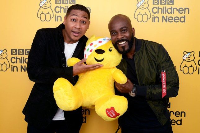 Rickie Haywood-Williams and Melvin Odoom backstage at BBC Children In Need's 2018 appeal