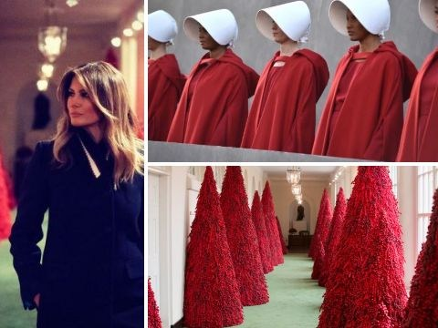 Melania Trump's red Christmas trees compared to characters from The Handmaid's Tale