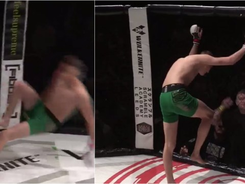 Video: MMA fighter injures both knees celebrating knockout win