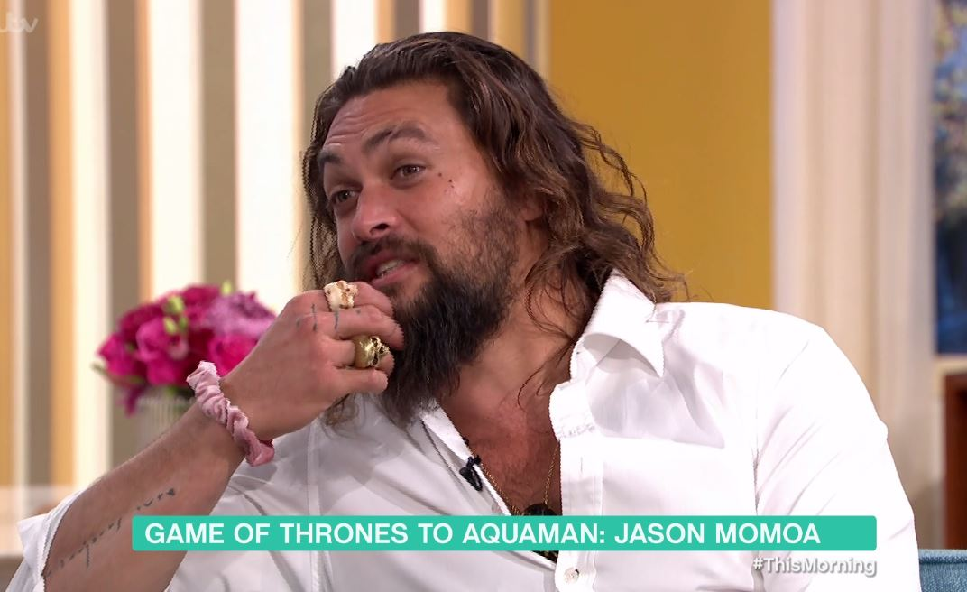 Jason Momoa wears a pink scrunchie to This Morning because Aquaman can pull off anything he wants to