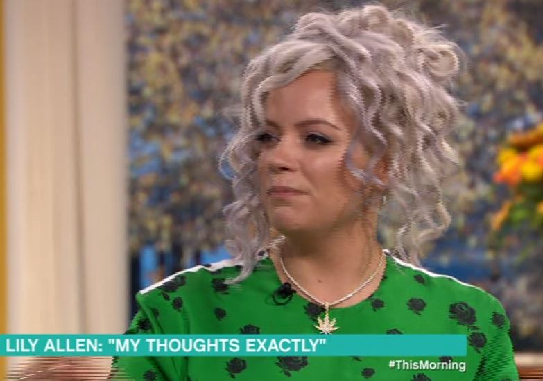 Lily Allen has fans in stitches as This Morning try and fail to cover her cannabis leaf necklace