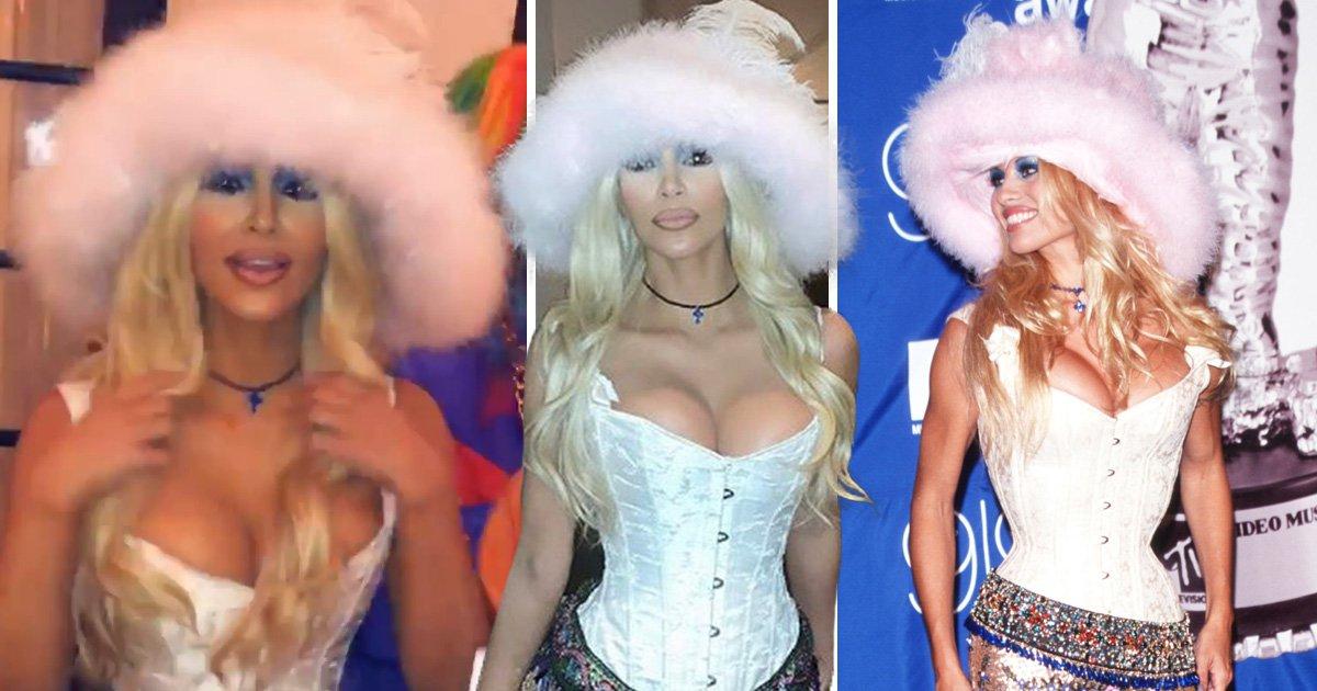 Kim Kardashian goes to Halloween party as Pamela Anderson and nobody realises