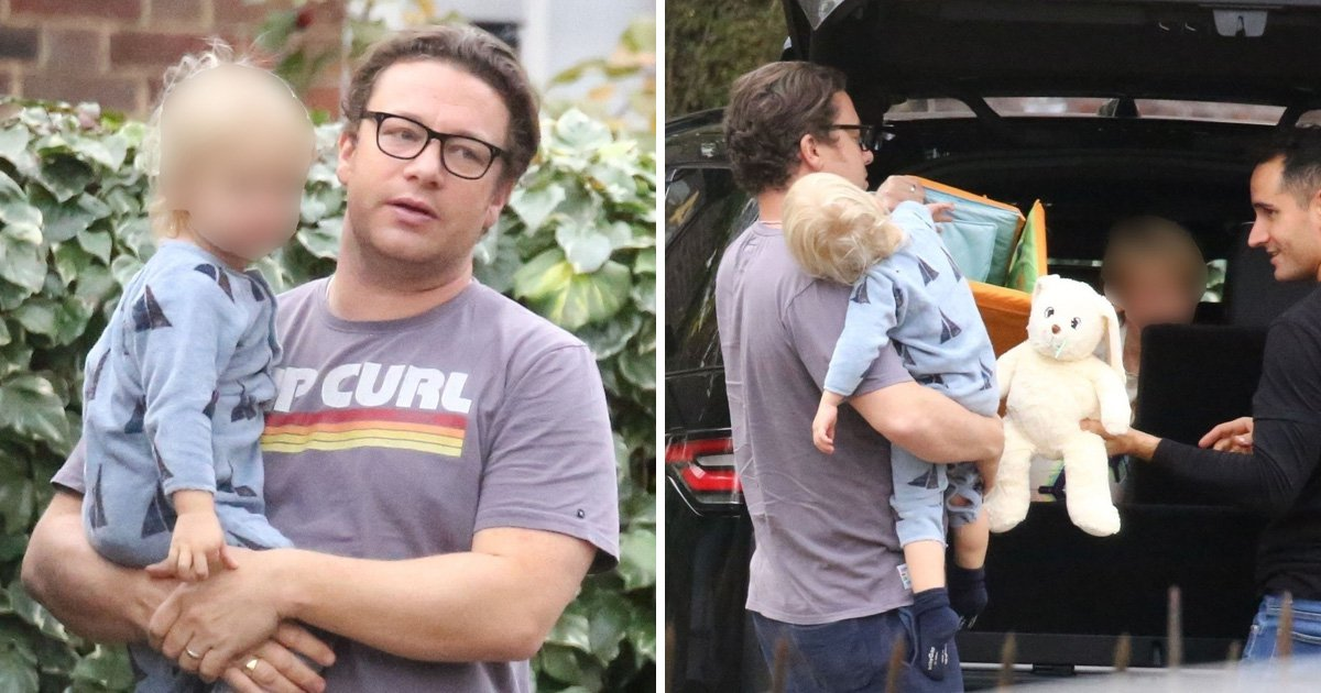 Jamie Oliver is ever the doting father as he carries son Rocket after opening up on on 'challenging' business woes