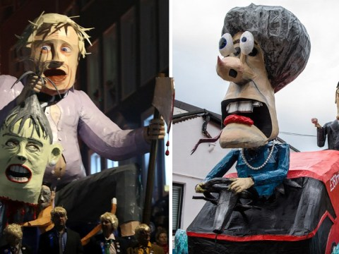 Theresa May drives the Brexit bus off a cliff in Bonfire Night effigy